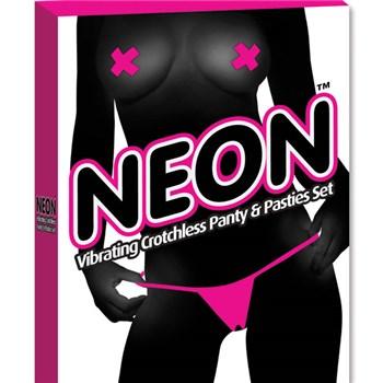 Neon Vibrating Crotchless Panties