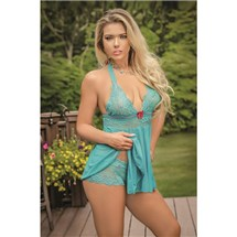 Blonde female  in green bay doll lingerie