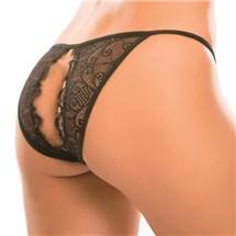 Female torso modeling crotchless panty